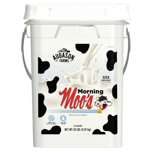 Augason Farms Morning Moo's® Low Fat Milk Alternative Certified Gluten Free Emergency Bulk Food Storage 4-Gallon Pail 533 Servings - image 1 of 7