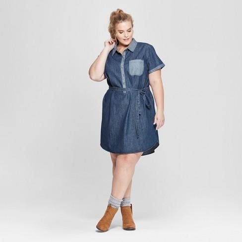 Women\'s Plus Size Short Sleeve Denim Shirtdress - Universal Thread ...