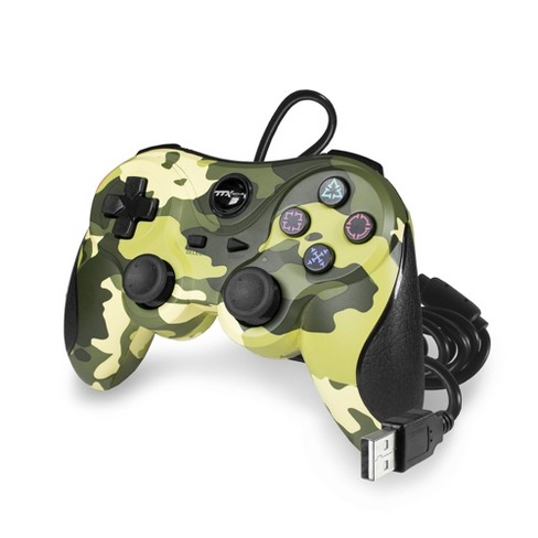 TTX Tech Wired USB Controller Compatible with PS3, Green Camouflage - image 1 of 1