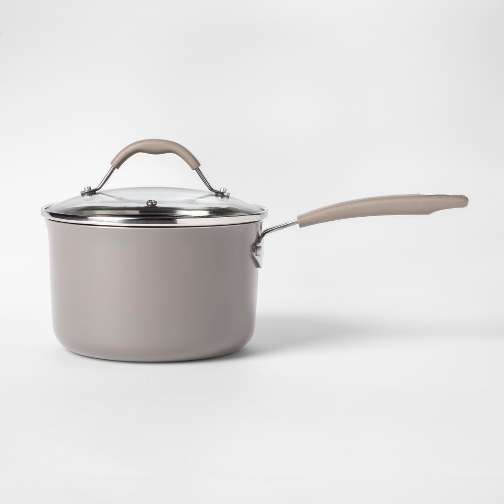 Cravings by Chrissy Teigen 3.5qt Aluminum Saucepan with Lid Gray