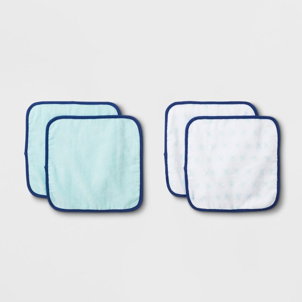 Image of Baby Boys' 4pk Washcloth Set - Cloud Island, Moonstone Blue