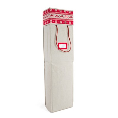 Wrapping Paper Cross Stitch Print Storage Box Light Tan - TreeKeeper