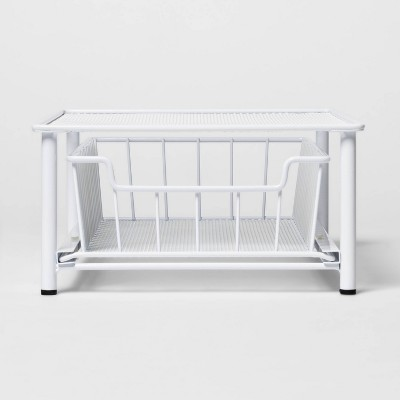 Stackable Slide Out Drawer Organizer Small White - Threshold™