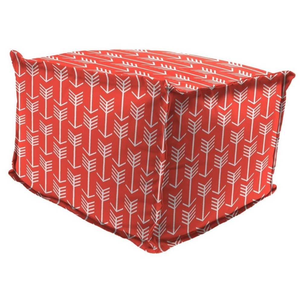 Outdoor Bean Filled Pouf/Ottoman In Arrow Indian Coral - Jordan Manufacturing