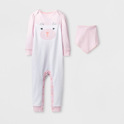 Baby Girls' 2pc Kitty Rainbow Coverall Set - Cloud Island™ Pink 12M