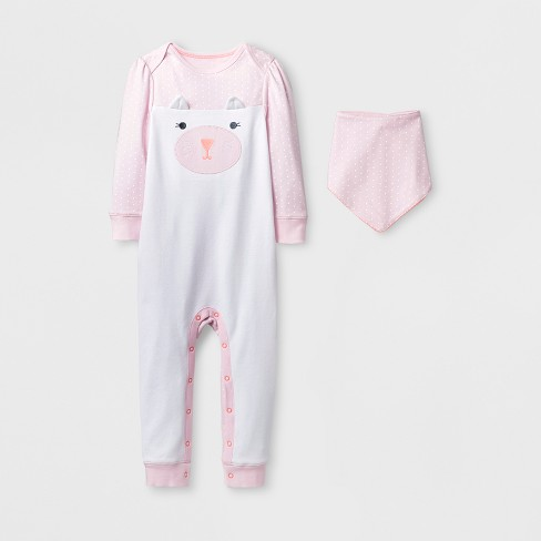 3d418fc681a Baby Girls  2pc Kitty Rainbow Coverall Set - Cloud Island™ Pink   Target