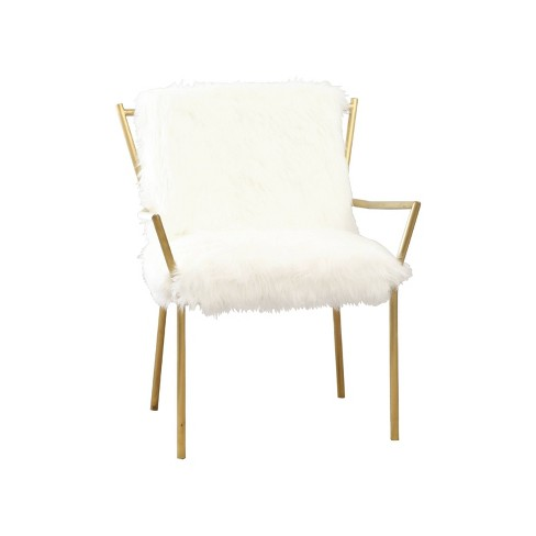 Bonnie Stainless Steel Faux Fur Armchair - White - Abbyson - image 1 of 4