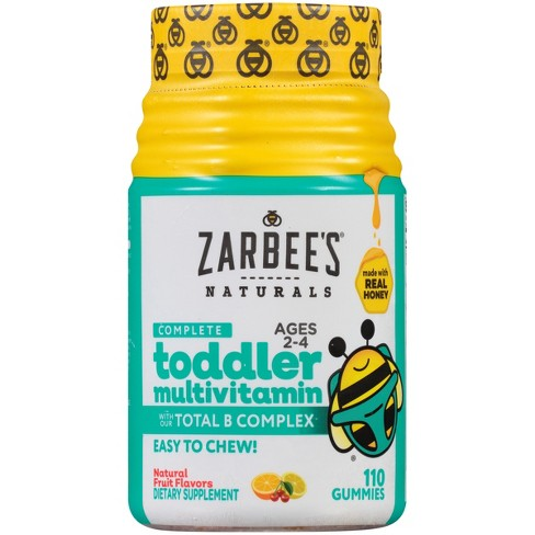 Zarbee's Naturals Toddler Complete Multivitamin Easy Chew Gummies - Natural Fruit Flavor - 110ct - image 1 of 4
