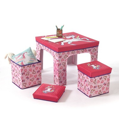 3pc JoJo Siwa Collapsible Set with Storage Table and 2 Ottomans