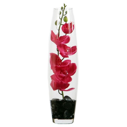 Artificial Orchid in Glass Bullet Vase Pink - Vickerman - image 1 of 2