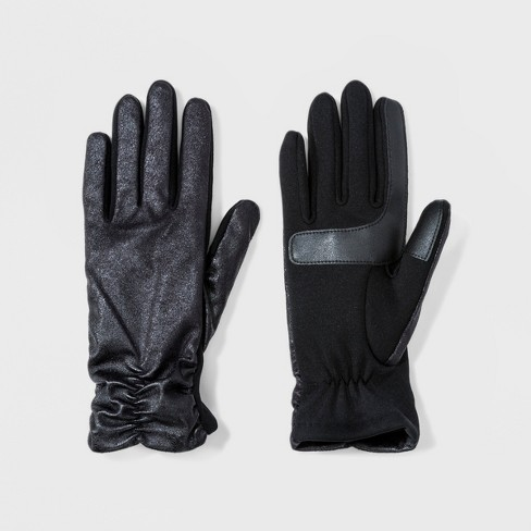 70f5f0c9a82 Isotoner Women s Metallic Stretch With Smart Touch Unlined Gloves - Black    Target