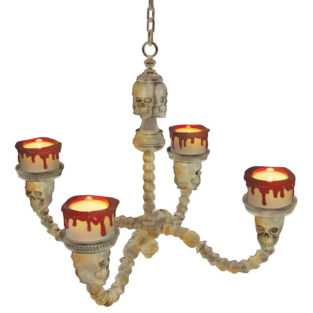 Image of Halloween Chandelier Lighted Bone Color, Multi-Colored
