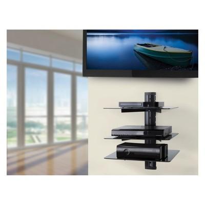 Wall Mounted AV Component Shelving System - 3 Shelves Black