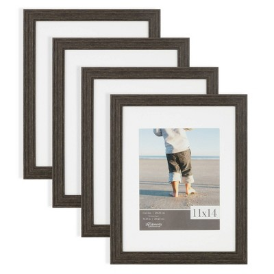 """4pc 11""""x14"""" Matted to 8""""x10"""" Rustic Woodgrain Tabletop or Wall Mount Picture Frames Distressed Black - Life Moments"""