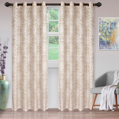 Jacquard Woven Textured Srolling Damask 2-Piece Curtain Panel Set with Stainless Grommet Header - Blue Nile Mills