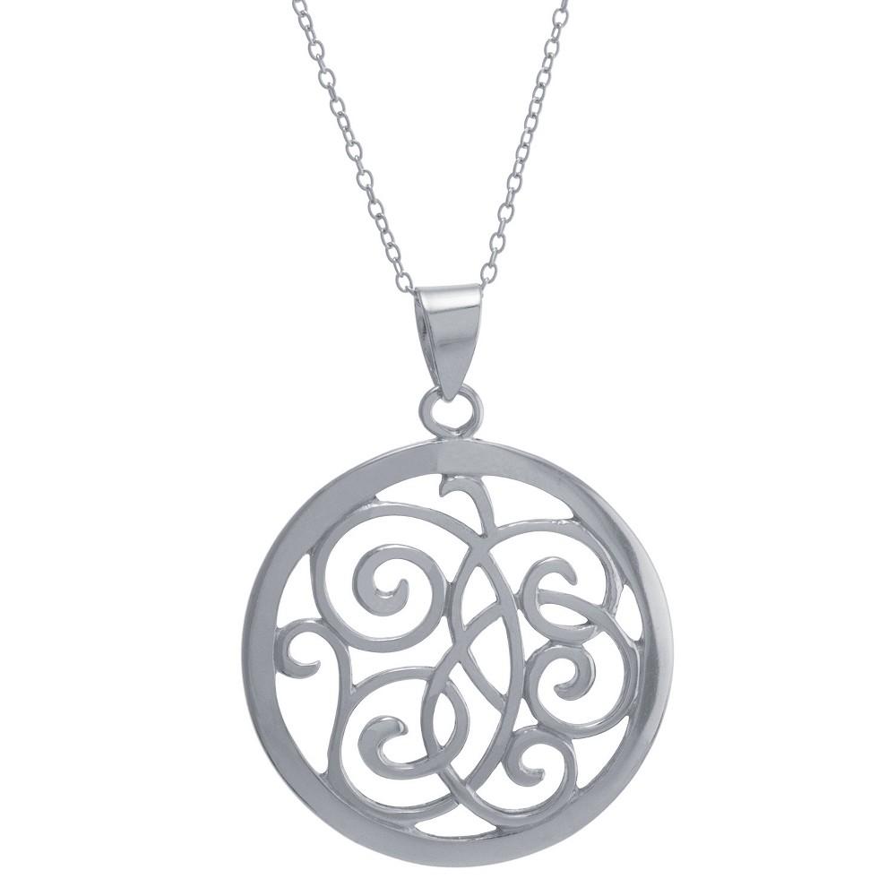 Women's Sterling Silver Open Swirl Circle Pendant (18), Clear