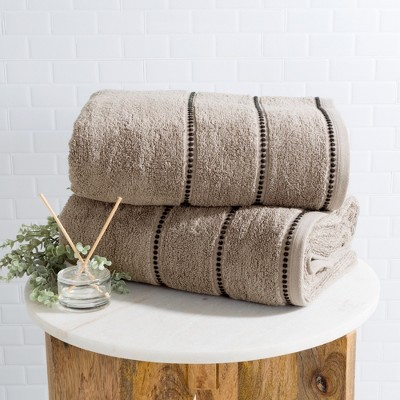 2pc Luxury Cotton Bath Towels Sets Taupe Brown - Yorkshire Home