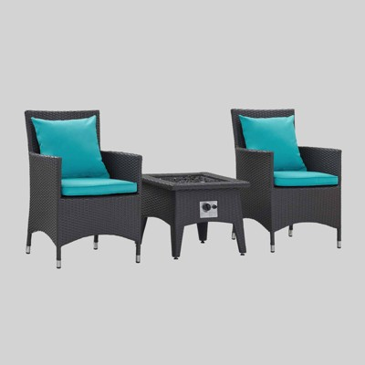 Convene 3pc Outdoor Fire Pit Patio Seating Set Espresso Turquoise - Modway