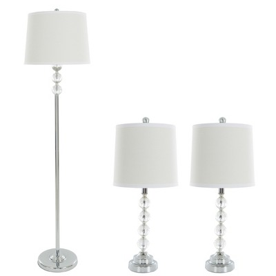 Table Lamps and Floor Lamp Faceted Crystal Balls Set of 3 (3 LED bulbs included)- Yorkshire Home