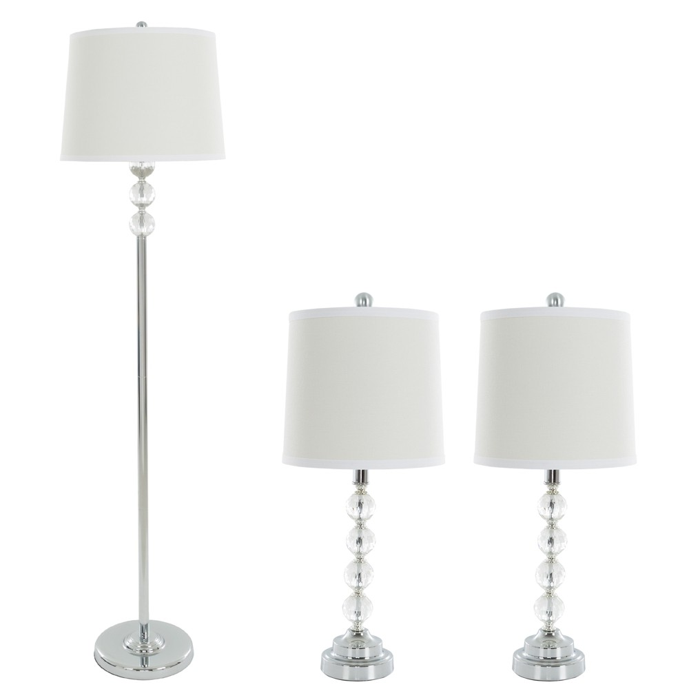 Table Lamps And Floor Lamp Faceted Crystal Balls Set Of 3 3 Led Bulbs Included Yorkshire Home