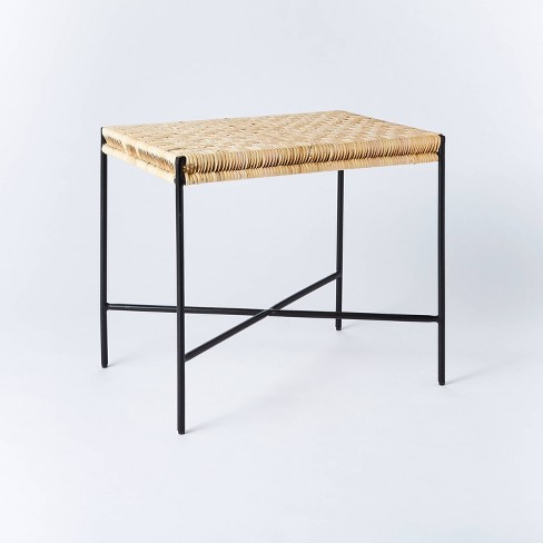 Woven Ottoman with Black Metal Legs Natural - Threshold™ designed with Studio McGee - image 1 of 4