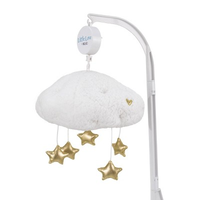 NoJo Little Love White Sherpa Cloud Shaped Nursery Crib Musical Mobile with Shimmering Gold Stars