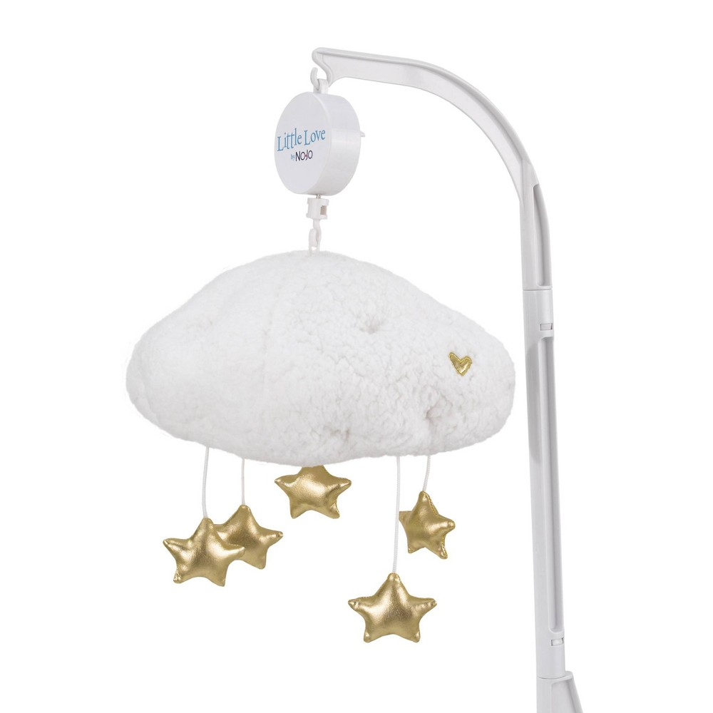 Image of NoJo Little Love White Sherpa Cloud Shaped Nursery Crib Musical Mobile with Shimmering Gold Stars