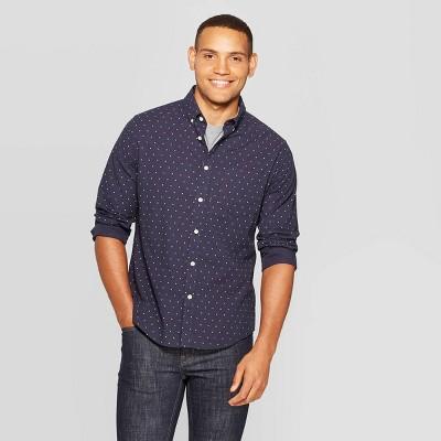 Men's Standard Fit Long Sleeve Northrop Poplin Button-Down Shirt - Goodfellow & Co™ Night Sky S