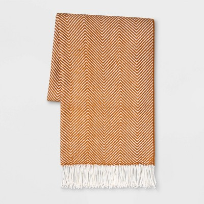 Woven Herringbone Throw Bronze/Cream - Threshold™