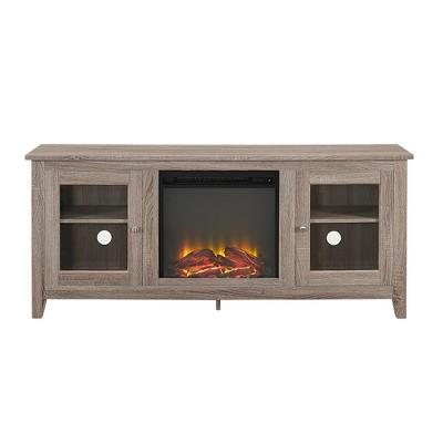 "Cozy Glass Door Fireplace TV Stand for TVs up to 65"" - Saracina Home"
