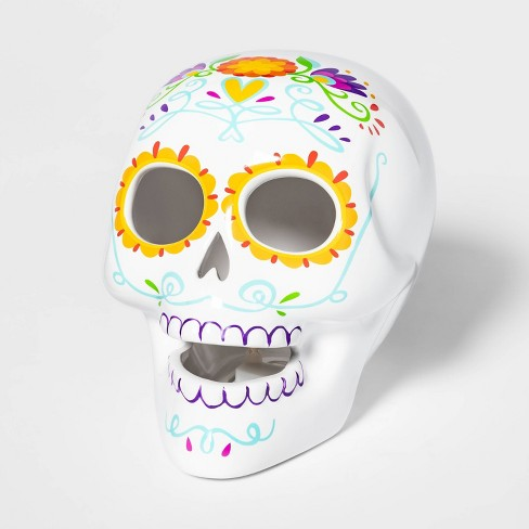Da de Muertos Ceramic Lit Sugar Skull Yellow - image 1 of 2