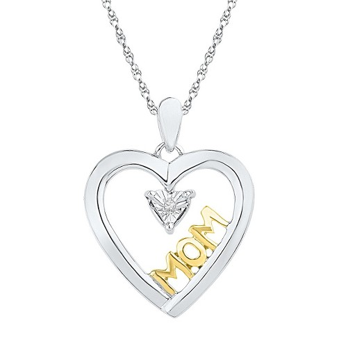 Round Diamond Accent Miracle Set Mom Heart Pendant in Sterling Silver with Yellow Plating - image 1 of 1