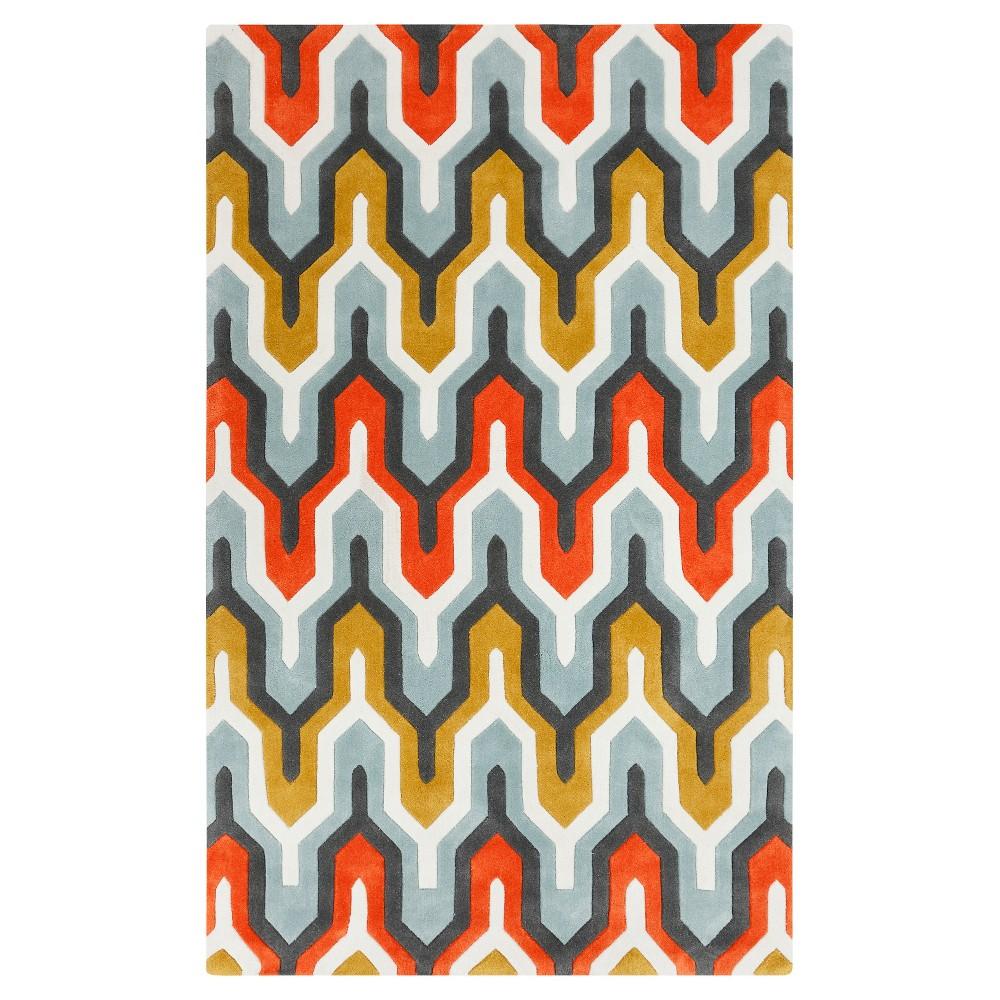 Elva Area Rug - Sea Foam, Bright Orange - (2' x 3') - Surya, Seafoam