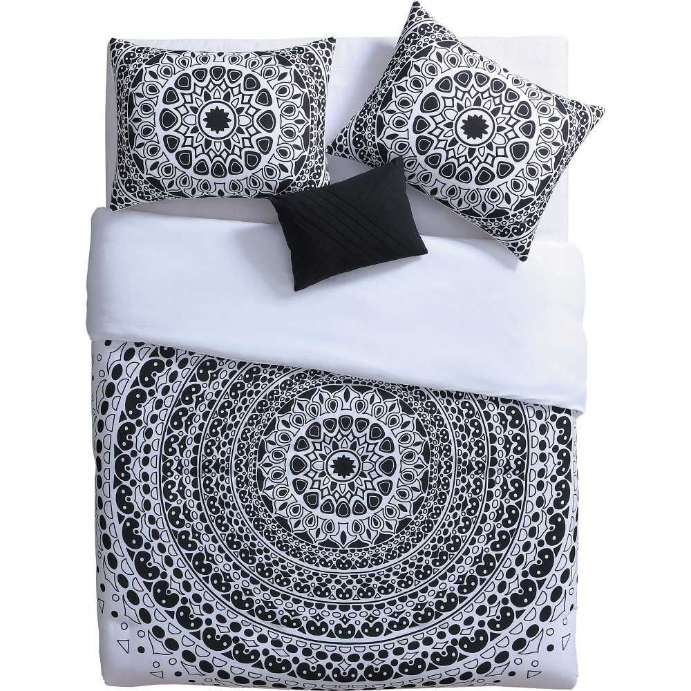 4pc Full/Queen Tessa Comforter Set Black/White - Vcny Home