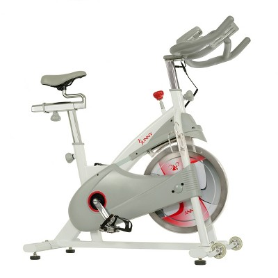 Sunny Health & Fitness Magnetic Belt Drive Premium Indoor Cycling Bike - White