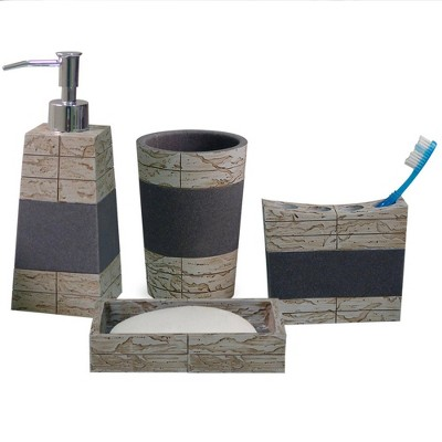 4pc Rustic Cement Bath Accessory Set for Vanity Counter Tops Gray/Brown - Nu Steel