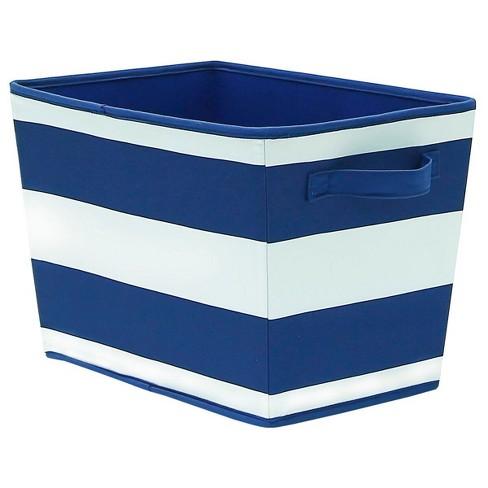 Large Striped Fabric Toy Storage Bin Navy - Pillowfort™ - image 1 of 1