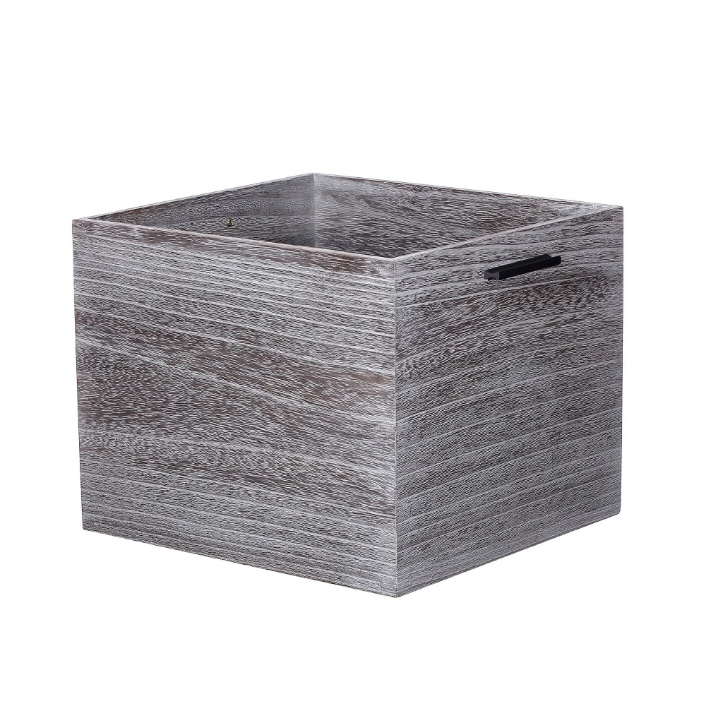Large Decorative Silver Wood Crate 11