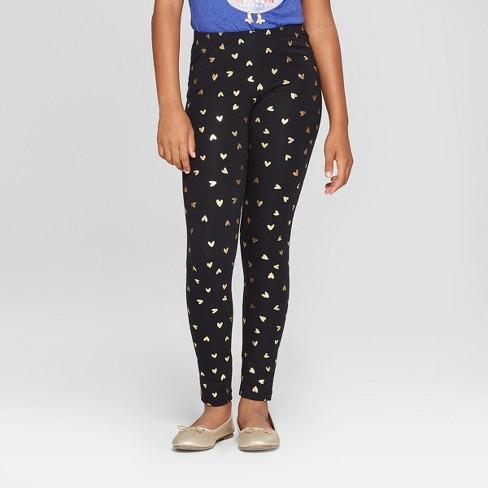 5adeae5b1fc9b9 Girls' Gold Hearts Print Leggings - Cat & Jack™ Black : Target