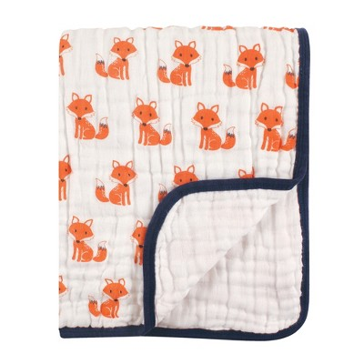 Hudson Baby Infant Boy Muslin Tranquility Quilt Blanket, Foxes, One Size