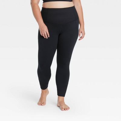 "Women's Contour Flex High-Waisted 7/8 Leggings with Ribbed Power Waist 25"" - All in Motion™"