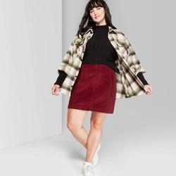 Women's Plus Size High-Rise Corduroy Mini Skirt - Wild Fable™ Burgundy