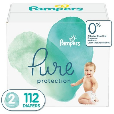 Pampers Pure Protection Disposable Diapers Enormous Pack - Size 2 - 112ct