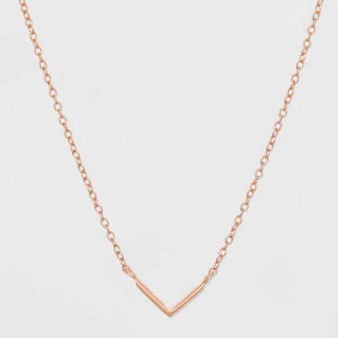Sterling Silver Plain V Bar Necklace - Rose Gold   Target 396e7b1f34b9