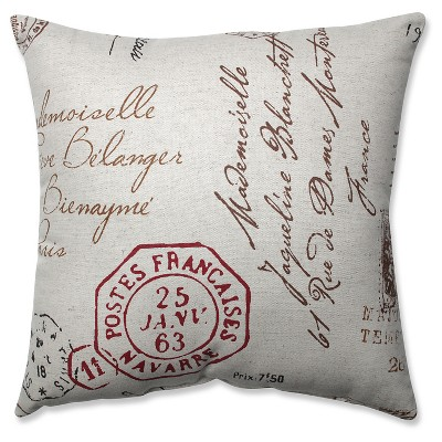 Linen/Red French Postale Throw Pillow (16.5 x16.5 )- Pillow Perfect