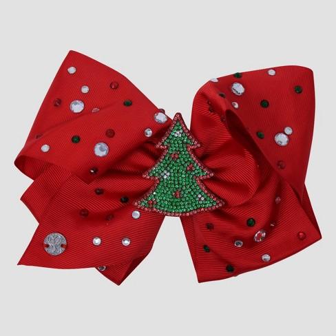 Girls' JoJo Siwa Christmas Tree Bow Hair Clip - Red - image 1 of 1
