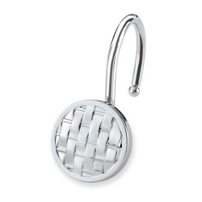 12pc Woven Shower Hooks Light Silver - Elegant Home Fashion