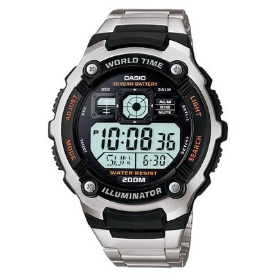 Casio Men's 10 Year Battery Stainless Steel Digital Watch - Silver (AE2000WD-1AV)