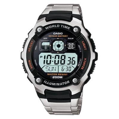 Casio Men's 10 Year Battery Stainless Steel Digital Watch - Silver (AE2000WD-1AV)