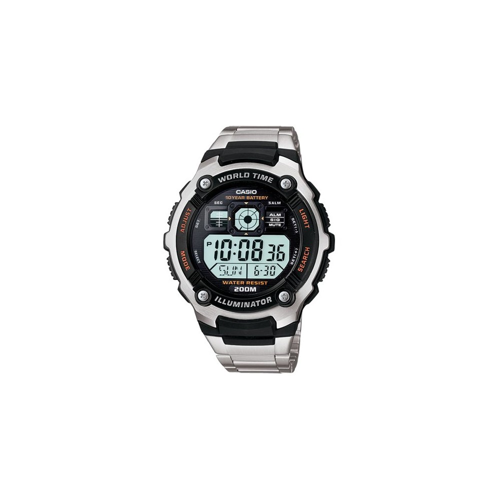 Image of Casio Men's 10 Year Battery Stainless Steel Digital Watch - Silver (AE2000WD-1AV), Size: Small, Silver/Silver/Silver